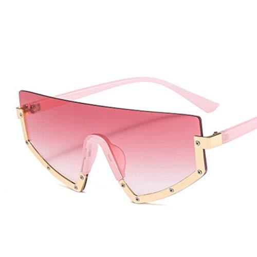 Gafas De Sol De Gran Tamaño para Mujer, Medio Marco, Gafas De Sol Combinadas para Hombre, Espejo De Sombra Grande Degradado De Moda para Mujer, Uv400