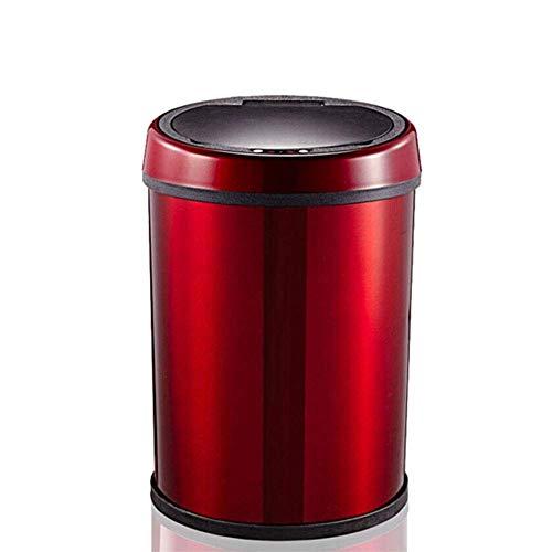 CMmin Miilleimer Automatische Intelligent Sensor Abfalleimer, elektrische Mülltonne, mit Deckel Automatische Touch Free Abfalleimer Edelstahl 9L, Rot