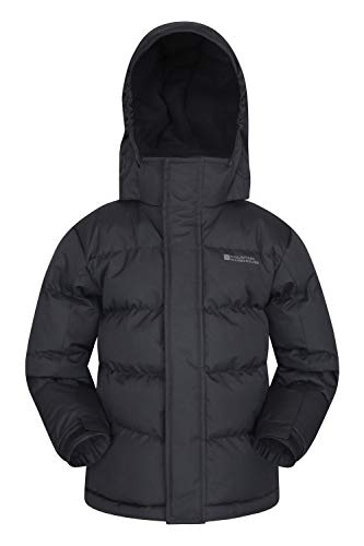 Mountain Warehouse Snow Padded Kids Jacket - Water Resistant, Ripstop, Fleece Lined Collar, Hood, Adjustable Cuffs & Hood, Pockets - Ideal Childrens Winter Coat Black 7-8 Years