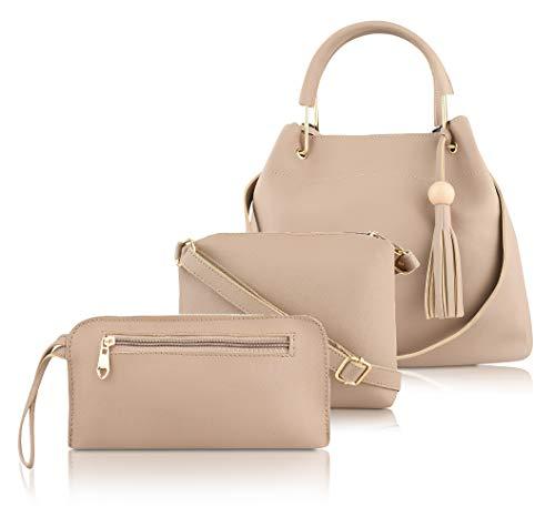 ADISA Women's Handbag with Sling Bag & Pouch (Set of 3, Beige)