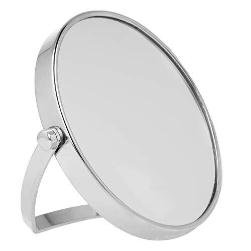 PARSA Beauty Travelspiegel Reisespiegel Stellspiegel silber verchromt mit 5 fach Vergrößerung zum Schminken und Frisieren