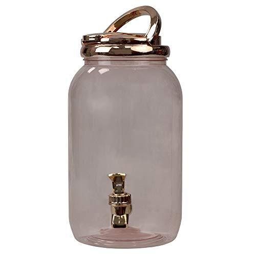 """Home Basics, Rose Gold 3.78 Lt Plastic Beverage Dispenser, 10.5"""" x 5.75"""" x 7.50"""""""