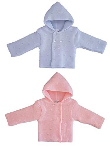 Nursery Time Baby Strickjacke, aus Acryl, weiche Cardigan für Babys mit Kapuze und Knopfleiste (hellblau, 52-58)