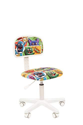 CHAIRJet Kinderschreibtischstuhl Drehstuhl mit Rollen Jugenddrehstuhl Kinder-Bürostuhl Stoff Armlehnen - Junior Schreibtischsessel Kind Höhenverstellbar Rollen 101 (Monsters, ohne Armlehnen)