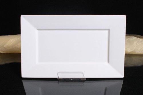 3x Teller Servierteller Flachteller Porzellan Rechteckig Weiß Gastronomiebedarf