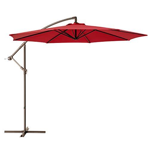 Ralawen 10 Ft Patio Umbrella Offset Cantilever Umbrellas Hanging Market Umbrella with Crank & Cross Base (10 ft, Red)