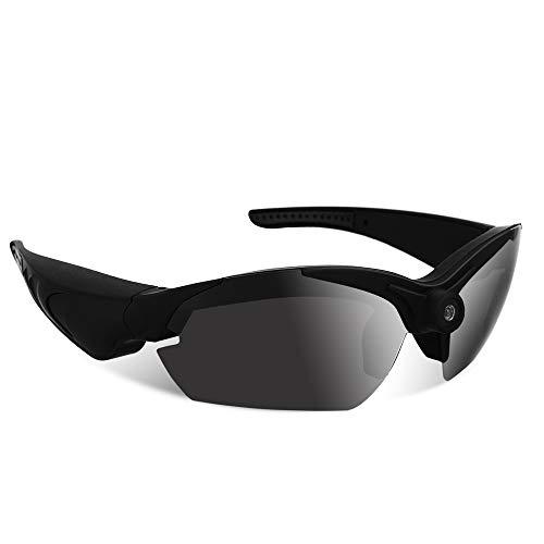 1080P HD - Gafas de sol, grabador de vídeo espía con lente gran angular de 142 grados, lente polarizada UV400, tarjeta de memoria integrada de 16 GB