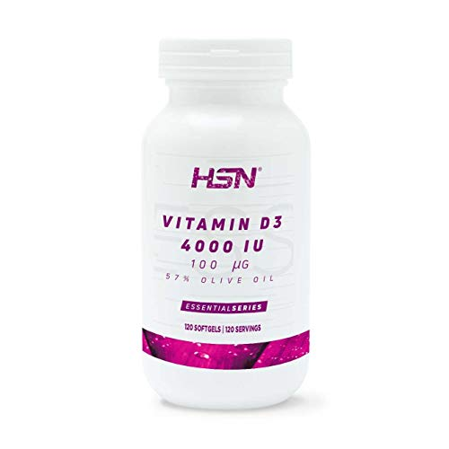 Vitamina D3 4000 UI de HSN | Suplemento de Vitamina D Colecalciferol | para la Huesos y Sistema Inmune | 1 Mini Perla fácil de tragar al día | Con Aceite de Oliva | No-GMO, Sin Gluten | 120 Perlas