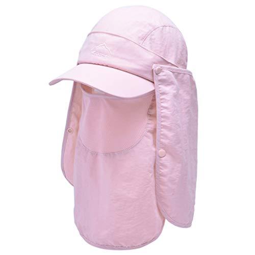 VVXXMO Sombrero de pesca de sol con máscara de cuello desmontable, malla transpirable con protección UV, visera de secado rápido