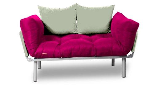 EasySitz Schlafsofa Sofa 2 Sitzer Kleines Couch 2-Sitzer Schlafsessel für Zweisitzer Personen Mein Futon Sitzen EIN Einer Farbauswahl (Rosa & Creme)