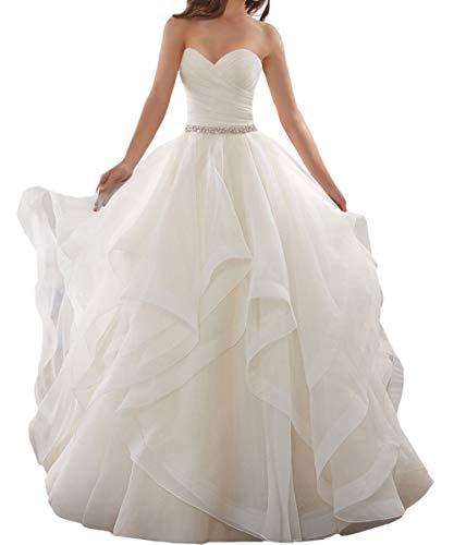 LuckyShe Damen Lang A Linie Brautkleid Prinzessin Hochzeitskleider mit Schleppe Weiß Größe 40