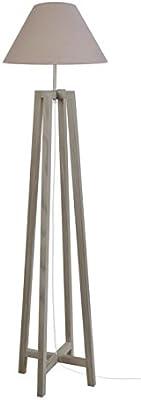 Tosel 51091 Lampadaire 1 Lumière, Bois, E27, 40 W, Blanc, 40 x 155 cm