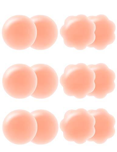 Arctic Penguin Nippel Abdeckungen Wiederverwendbar Nipple Cover Silikon Hautfarben für Frauen Gel Nippelpads Sexy Selbstklebend Nippelabdeckung Bikini Brustwarzenabdeckung (Runde-3 + Blütenblatt-3)