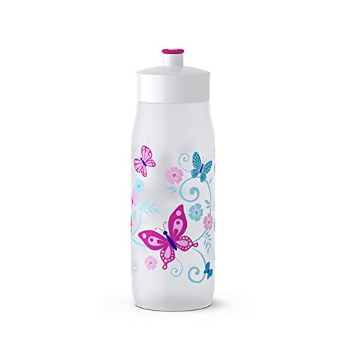 Emsa 518093 Squeeze Sport-Trinkflasche | 0,6 Liter Fassungsvermögen | Ohne BPA | 100% auslaufsicher und spülmaschinengeeignet | Robust und stylisch | Butterfly