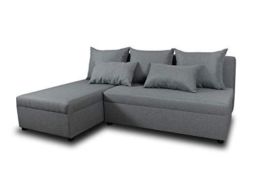 Ecksofa Pono mit Schlaffunktion - Couchgarnitur, Eckcouch, Sofa, Sofagarnitur, Bettsofa, L-Form Couch, Schlafsofa - Ottomane Universal (Grau (Sawana 21))