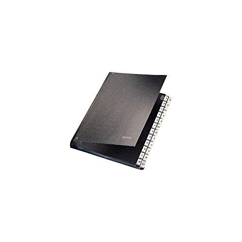 Leitz Pultordner, A4, 24 Fächer, 24 Plastik-Buchstaben-Taben mit Einsteckschildern, 6 Sichtlöcher, Schwarze Hartpappe, Schwarz, 58240095