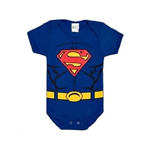 Body Bebe Mesversário Temático Roupa de Bebê Super Man - Super Homem (M)
