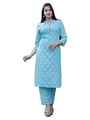 Festival de rayón azul claro impreso recto Kurti pantalón indio mujer Kurta traje conjunto 492K, Como se muestra, Large