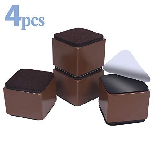 """Ezprotekt Lift Furniture Risers Solid Steel Bed Risers,Adds 2"""" Height to Heavy Furniture or Beds Self-Adhesive Furniture Chair Table Risers Square(Set of 4) Supports 20,000 lbs (Brown)"""