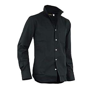 シャツ イタリアンカラー メンズ ドレスシャツ コットンシャツ 長袖 七分袖 日本製 A280818-08 ブラック(長袖) L