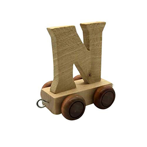 Buchstaben Zug aus Holz, Lok, Waggon, A-Z, Wunschname (N)