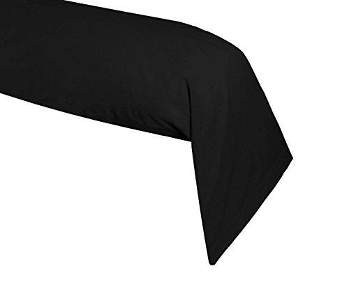 Lovely Casa T34820015 Alicia Taie de Traversin Coton Noir 185 x 45 cm