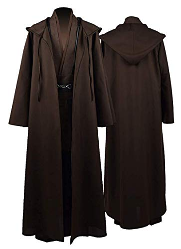 Rongxu Mens Jedi Robe Cosplay Costume Adult Tunic Hooded Robe Outfit Full Set Halloween Tunic Costume US Size (X-Large, Brown (Full Set))