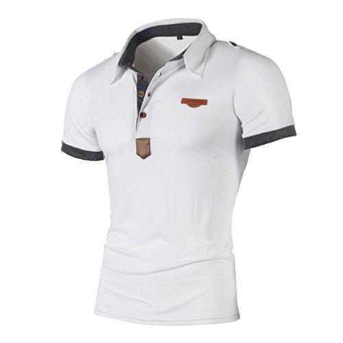 Btruely Herren T Shirt Kurzarm Hemden Herren Slim Fit Shirt Freizeit Polo Shirt Brief Shirt Herren Kurzarm Sport Tee Männer T Shirt Kurzarmhemde Tops (Asia Größe XXL, Weiß)