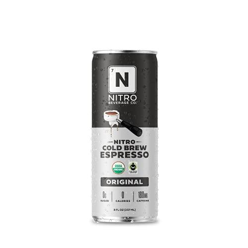 DRINK NITRO | NITRO Beverage Co. | Espresso Nitro Cold Brew Coffee | Organic and Non-GMO | Sugar and Dairy-Free | Vegan | Fair Trade Certified | 8 oz. Cans (12 Pack)
