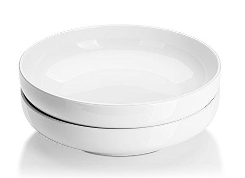 DOWAN 10 Inches/2 Quarts Porcelain Pasta/Salad Serving Bowls- 2 Packs, Shallow, White