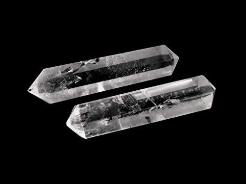 MKöpke® - Bergkristall - 2 Doppelender Kristalltherapie - Edelstein Spitze | ca. 30-40 mm