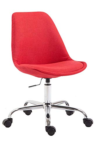 CLP Bürostuhl Toulouse mit Stoffbezug | Schreibtischstuhl mit Laufrollen | Drehstuhl mit Metallgestell in Chrom-Optik | Mit Farbwahl, Farbe:rot