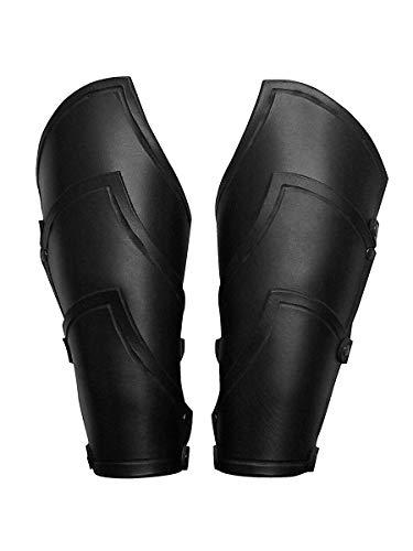 Andracor - Geschuppte Armschienen - Robuste Leder Rüstung für die Unterarme mit verstellbaren Schnallen - LARP Mittelalter Wikinger & Cosplay - schwarz
