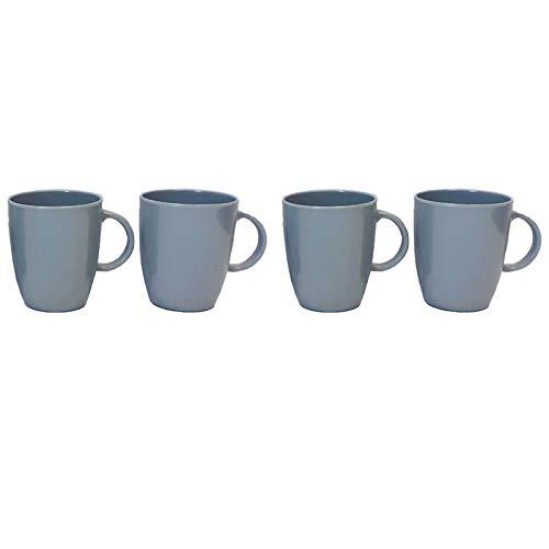 Melamin Geschirr 4 Tassen Campinggeschirr Kaffeebecher Teetasse 4 teilig Tafelgeschirr Camping Outdoor Becher Tasse Trinkbecher modernes Melamingeschirr Picknickgeschirr modern grau Henkeltasse Set