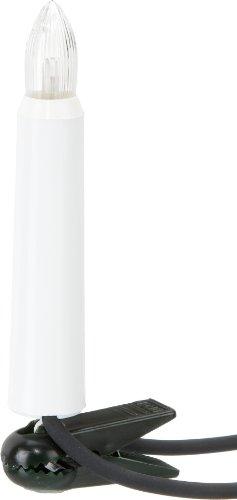 Hellum 842043 Lichterkette außen / 20 LED warm-weiß Riffelkerzen / Länge 19 m + 2x1,5 m Zuleitung, schwarzes Gummi-Kabel / Fassungsabstand 100 cm / teilbarer Stecker / Weihnachten