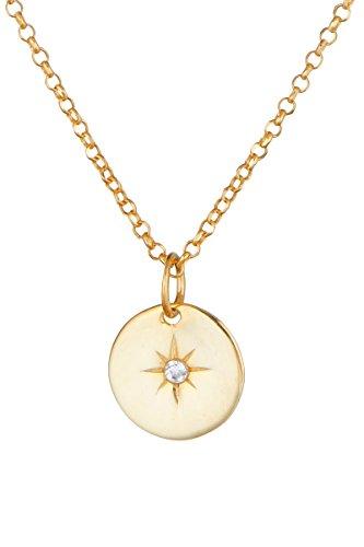 Córdoba Jewels | Gargantilla en Plata de Ley 925 bañada en Oro con circonita con diseño Rosa de los Vientos Gold Zirconium