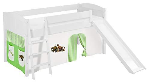 Lilokids Spielbett IDA 4106 Dinos Grün Beige - Teilbares Systemhochbett weiß - mit Rutsche und Vorhang