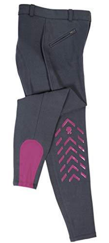 PFIFF Silikon-Grip Kniebesatz Reithose Piccola Kinder Blau-Pink 158