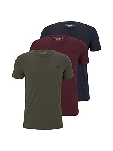 TOM TAILOR Denim Herren 3er-Pack Crew-Neck T-Shirt, Mehrfarbig (Olivgrün / Dunkelblau / Weinrot (10668), XL