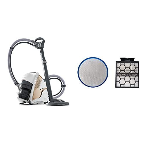 Polti Unico MCV85_Total Clean & Turbo Aspirador multifunción 3 en 1, aspiración y Vapor, 6 Bares, 2200 W, 0.8 litros, 72 Decibeles, Plástico, Metal, Crem y Blanco + Polti PAEU00295 Kit de 2 filtros