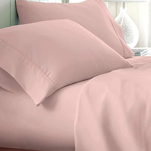 Bettwäsche-Set, ägyptische Baumwolle, Fadenzahl 800, Tagesdecke, tiefe Taschen, Premium-Bettwäsche für Hotel-Kollektion, weiches Satin-Gewebe (Kingsize, Blush)