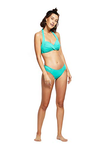 Seafolly Women's Twist Soft Cup Halter Top Swimsuit, Antigua Blue, 6 US