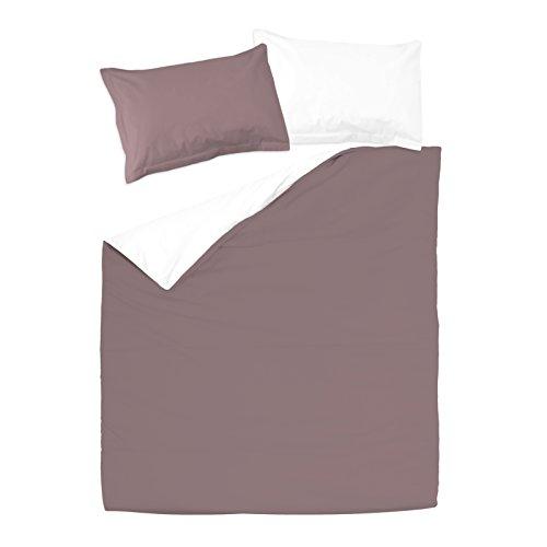 SoulBedroom Rose cendré & Blanc 100% Coton Parure de lit Réversible (Housse de Couette 200x200 cm & 2 Taies d'oreiller 50x75 cm)