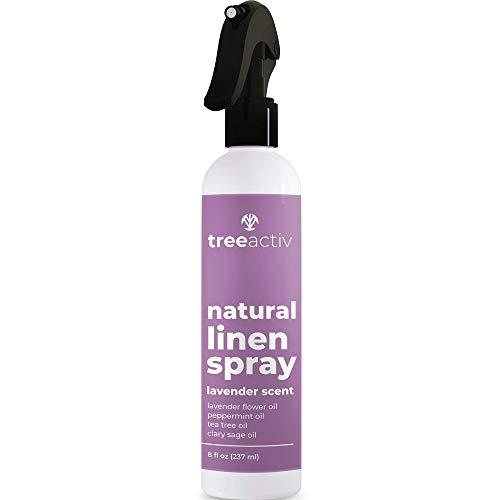 TreeActiv Natural Linen Spray | Lavender Essential Oil Clothing & Fabric Spray Freshener | Tea Tree Anti-Acne Pillow Mist | Linen Spray for Bedding | Lavender Spray for Sleep | 237 ml of 2000+ Sprays
