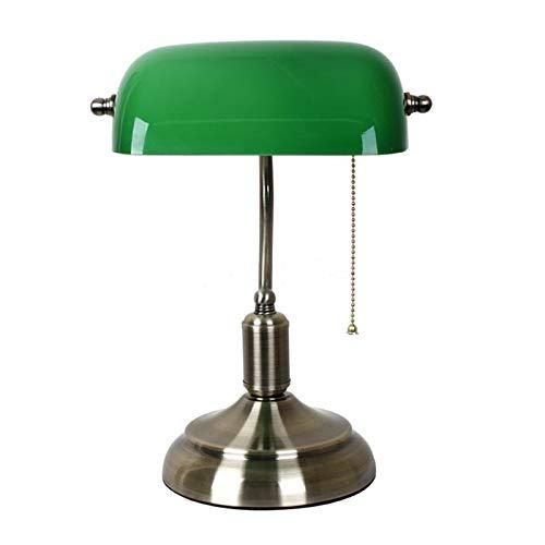 Lámpara de mesa vintage Lámpara de mesa de vintage con interruptor de cristal verde Lámpara de cubierta Luces de escritorio Dormitorio clásico Estudio de la casa de lectura de la casa