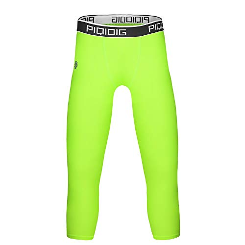 PIQIDIG Youth Boys Compression Pants 3/4 Basketball Tights Sports Capris Leggings (Bright Green, X-Small)