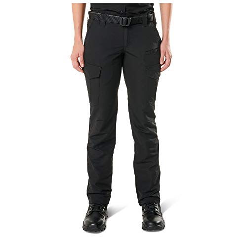 5.11 Tactical Women's Fast-Tac Cargo Pockets Professional Uniform Pants, Style 64419, Black, 10/Long