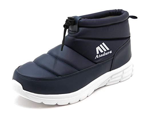 [ノーブランド] メンズ 裏起毛 軽量 防寒ブーツ スリッポンタイプ ネイビー M(25.5-26.0cm)