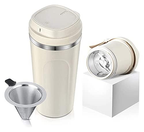 NC Macinacaffè Elettrico 2-in-1 Tazza da caffè Portatile con Filtro Tazza da caffè Ricarica USB in Acciaio Inossidabile (Colore : Beige, Dimensioni : 350ml) Chen