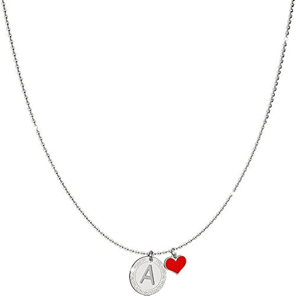 Rebecca collana in argento 925 per donna con cuore e lettera SWBKAA01